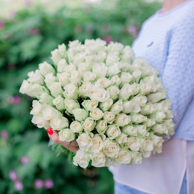 Букет 101 белая роза с доставкой