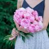 Букет из 15 розовых пионов