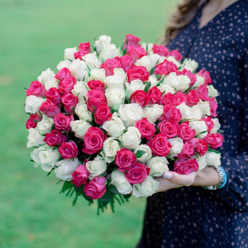 """Букет """"101 белая и розовая роза"""" с доставкой"""