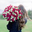 """Букет """"101 белая и розовая роза"""" купить"""