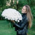 Букет из 25 белых хризантем купить