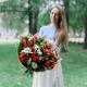 Букет с гортензией, орхидеей и хризантемой
