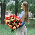 Букет с розами, герберами и хризантемой купить