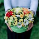 Коробка с хризантемами, розой и герберами с доставкой