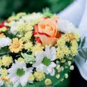 Коробка с хризантемами, розой и герберами заказать