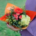 Букет с кустовой розой, герберой и хризантемами с доставкой