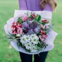 Букет с брассикой, лизиантусам и хризантемой заказать