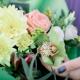 Букет с хризантемой, розой, альстромериями и орхидеей
