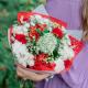 Букет с красными розами, альстромериями и белыми гвоздиками