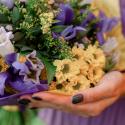 Букет с колокольчиками, хризантемами и ирисами купить