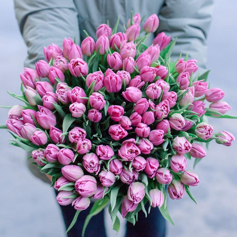 """Букет """"101 розовый тюльпан"""" с доставкой"""