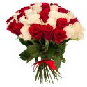Букет из 51 красной и белой розы 60см (Эквадор)