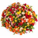 Букет из 101 разноцветной кустовой розы 70 см