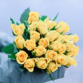 25 желтых Кенийских роз