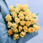 25 желтых Кенийских роз заказать