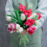 Букет из 15 тюльпанов (нежный микс)