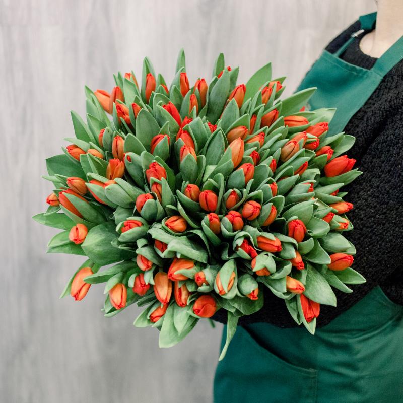 """Букет """"101 красный тюльпан"""" с доставкой"""