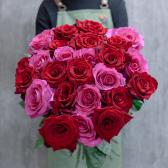 Букет из 25 крупных роз яркий микс (Эквадор) 60см