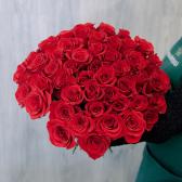 Букет из 51 красной розы Freedom 60см (Эквадор)