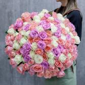 Букет из 101 крупной розы микс 70см (Эквадор)
