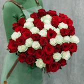 АКЦИЯ! Букет из 51 красной и белой розы (Эквадор)