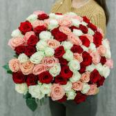 Букет из 101 розы микс 60см (Эквадор)