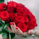 Букет из 25 красных роз (Россия) 60см