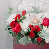 Конвертик с орхидеей и хризантемой купить