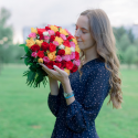 51 разноцветная роза (Кения) заказать