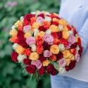 """Букет """"101 разноцветная роза"""" (Кения) с доставкой"""