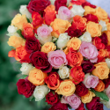 """Букет """"101 разноцветная роза"""" (Кения) купить"""