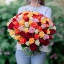 """Букет """"101 разноцветная роза"""" (Кения) заказать"""