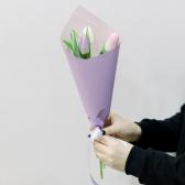 3 тюльпана (нежный микс) в упаковке купить