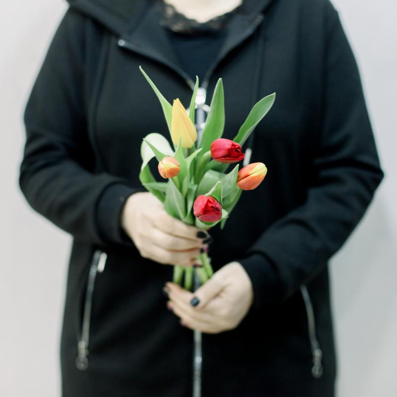 5 тюльпанов (яркий микс) с доставкой