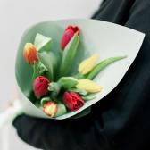 7 тюльпанов в упаковке (яркий микс) заказать