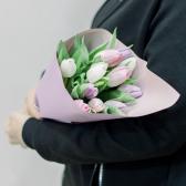 11 тюльпанов в упаковке (нежный микс) купить