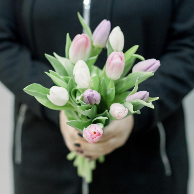 11 тюльпанов (нежный микс) с доставкой