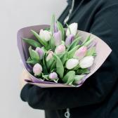 15 тюльпанов в упаковке (нежный микс) купить