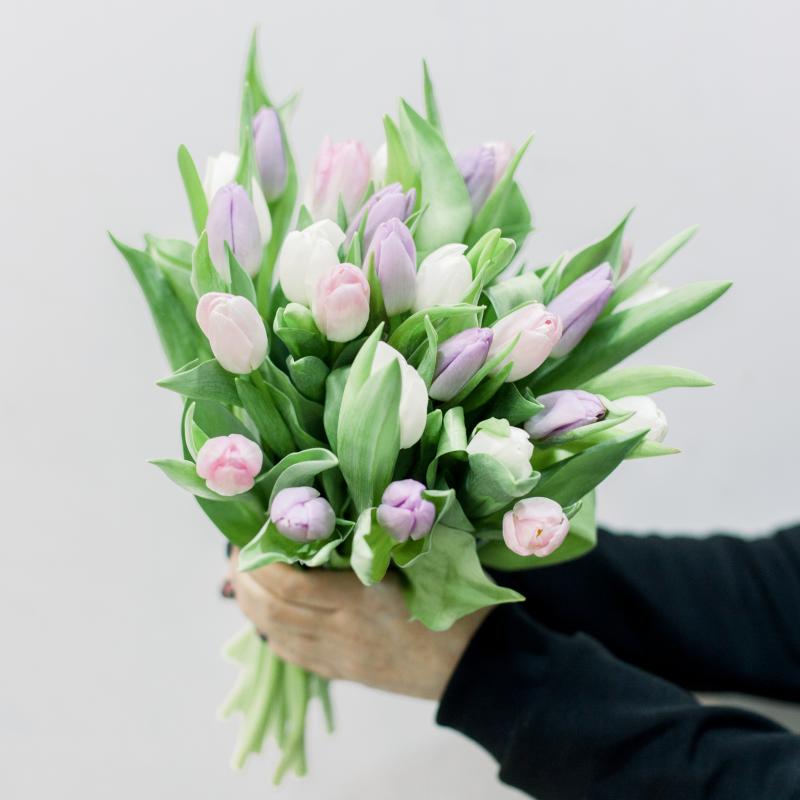 25 тюльпанов (нежный микс) с доставкой