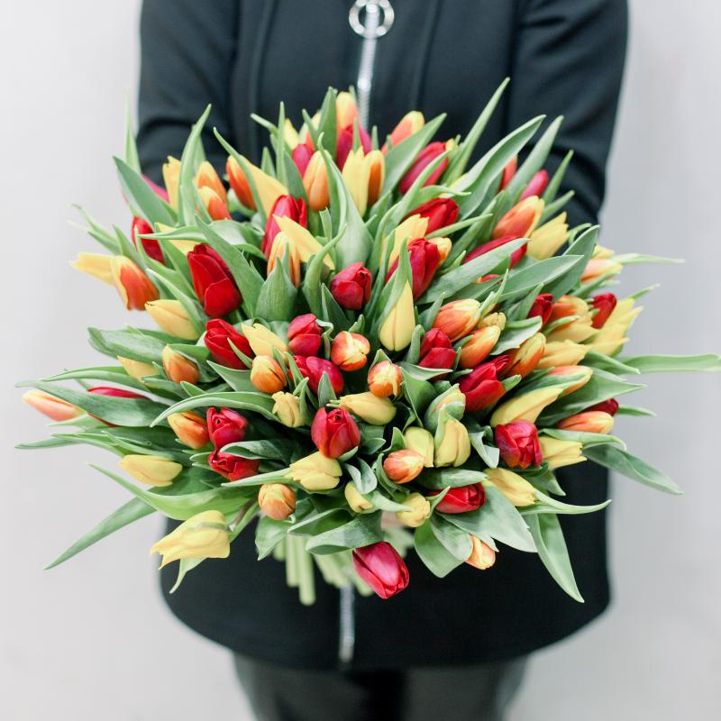 101 тюльпан (яркий микс) с доставкой