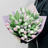 51 тюльпан с упаковкой (нежный микс) купить