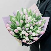 51 тюльпан с упаковкой (нежный микс)