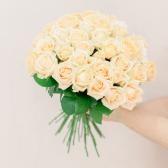 Букет из 35 кремовых роз (Россия) купить