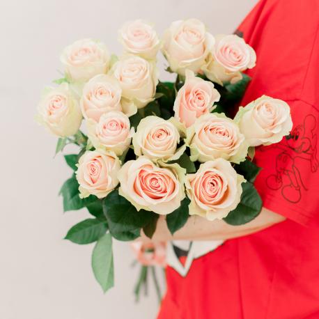 Букет из 15 розовых роз 60 см (Эквадор)