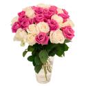 Букет из 31 белой и розовой розы (Эквадор)