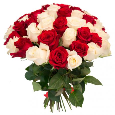 """Букет """"55 красных и белых роз"""""""