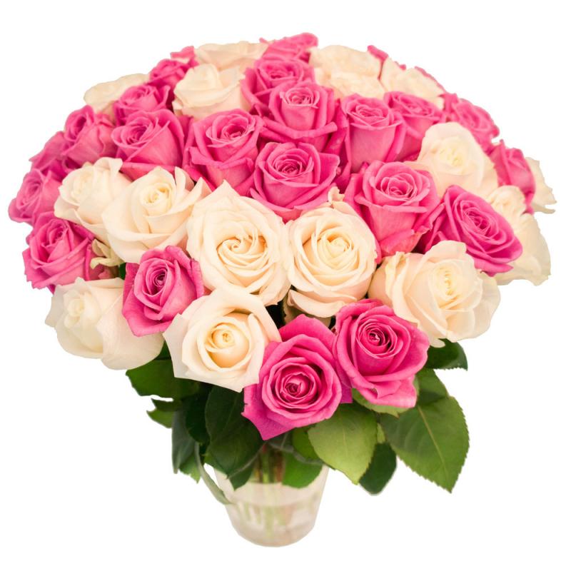 """Букет """"55 белых и розовых роз"""" с доставкой"""