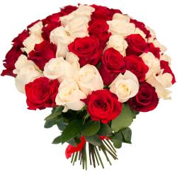 """Букет """"75 красных и белых роз"""""""