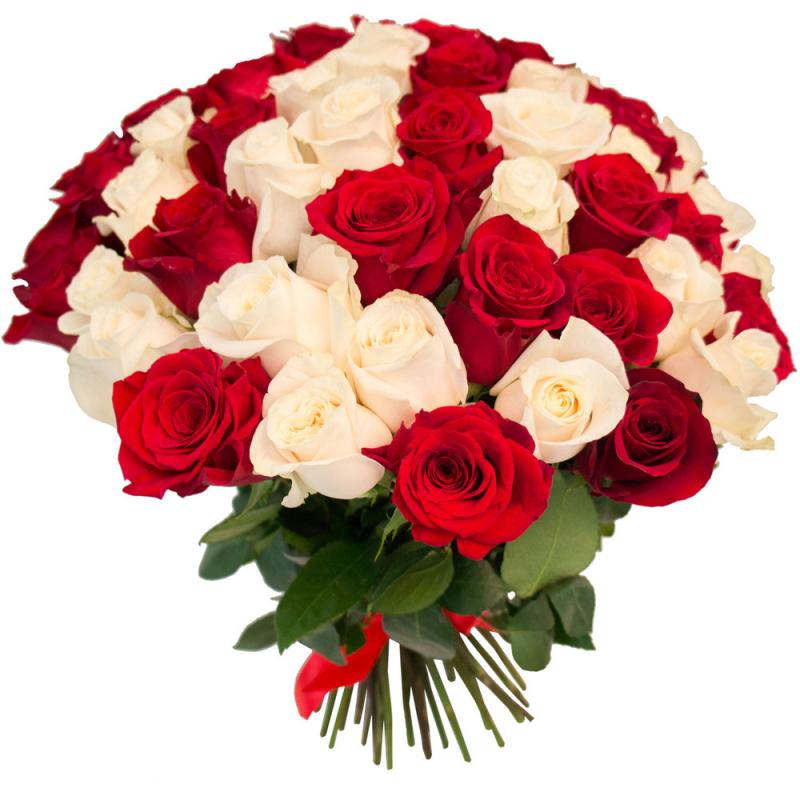 """Букет """"75 красных и белых роз"""" с доставкой"""