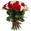 """Букет """"75 красных и белых роз"""" купить"""